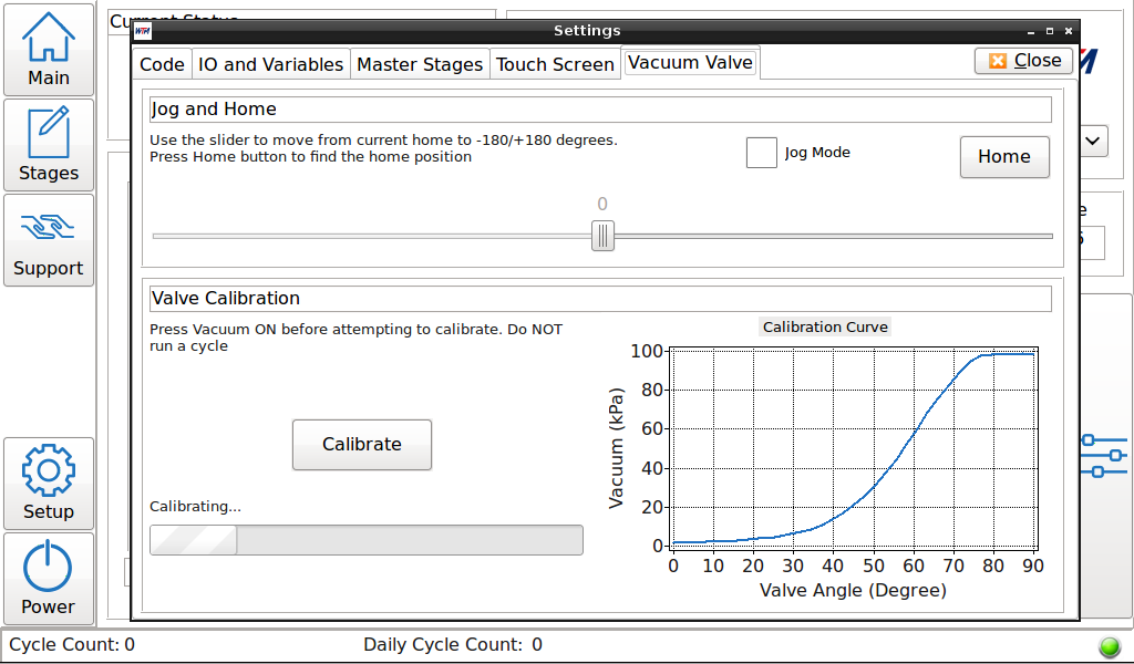 Settings Valve Calibration